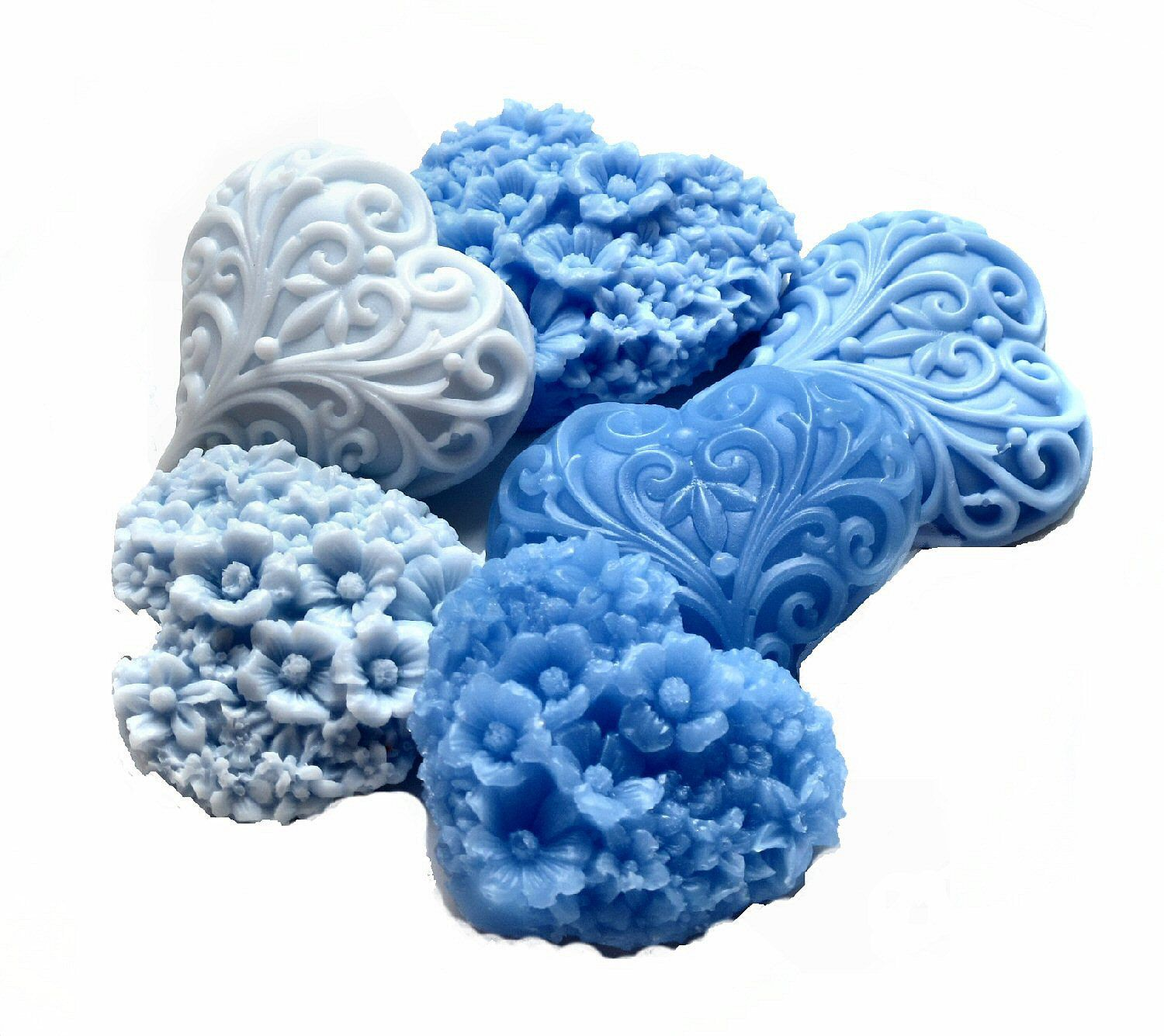 Decorative soap gift hearts in shades of blue by soaprhapsody blue