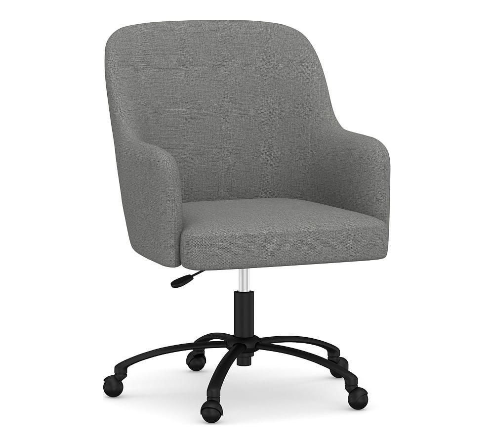Dublin Upholstered Desk Chair Bronze Swivel Base Basketweave