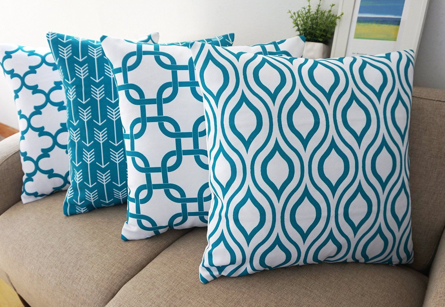 Amazon howarmer canvas cotton throw pillows cover for couch set