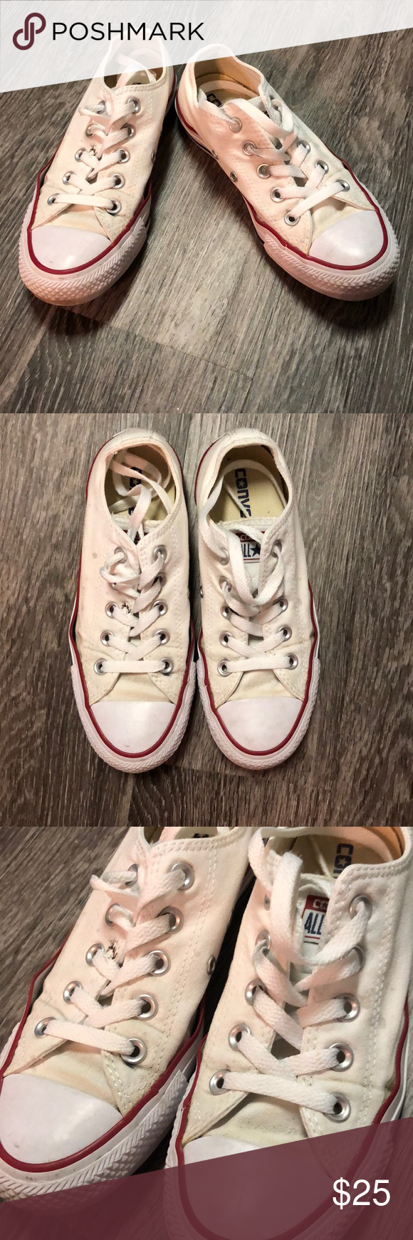 Worn Converse All Star size 5.5 Converse All Star white sneakers. Low top. Laces in good condition. Shoes are worn as shown by discoloration and minor gap near the toe, but still in good enough walking condition. Size 5.5, I typically wear a size 6 but these fit me. Converse Shoes #whiteallstars