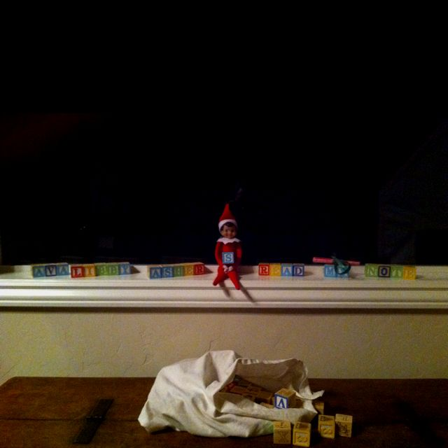 Our Elf left a message with the blocks telling the kids to read the note he left. So fun!