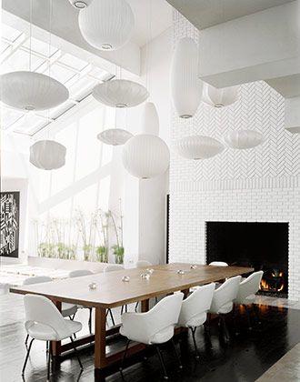 Modern Rustic Dining Table By Fireplace Herringbone Wall Painted Brick Dark Wood