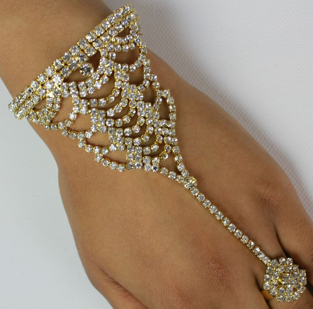 diamante crystal hand chain bracelet panja ring indian jewellery