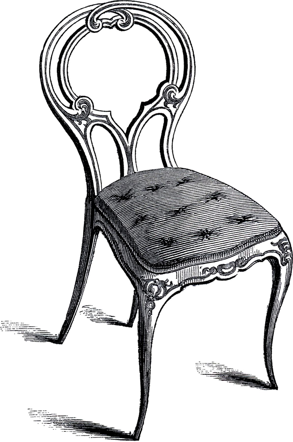 Vintage Frenchy Chair Image The Graphics Fairy Graphic Chair Art Chair Drawing Furniture