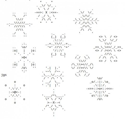 Snowflakes In Ascii Text Art