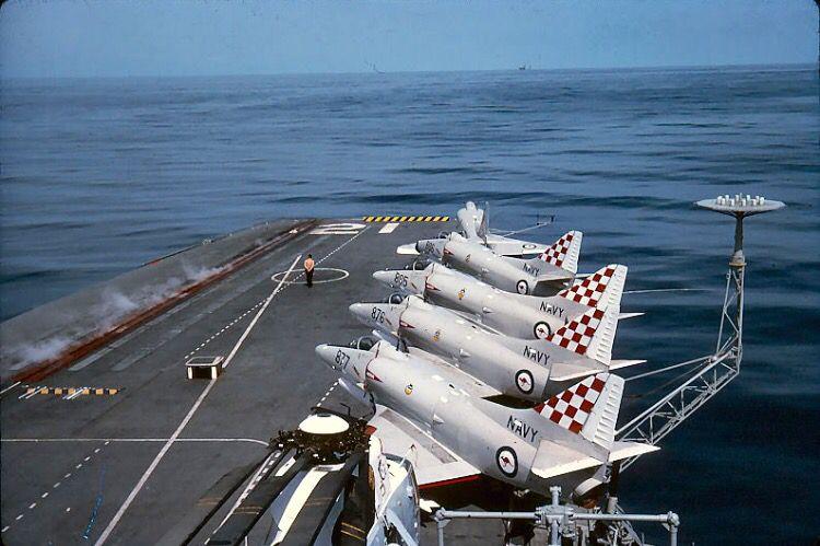 Douglas Australian A-4 Skyhawks onboard a ship a carrier.