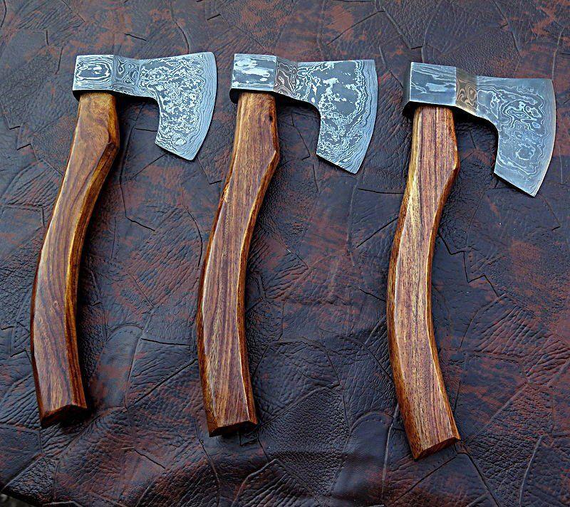 Medieval hand lot of3damascus steel hatchet hawks