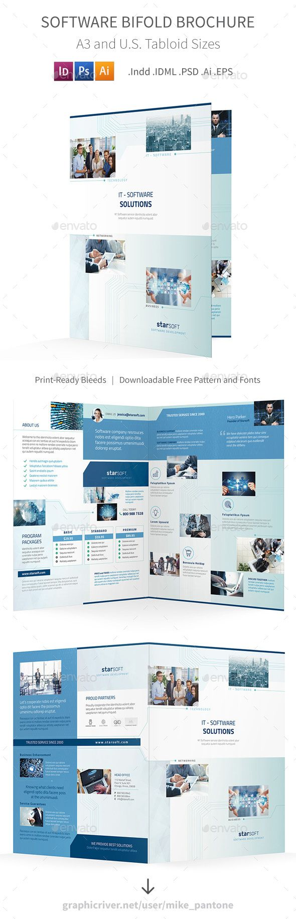 Software Business Bifold  Halffold Brochure  Brochures Brochure