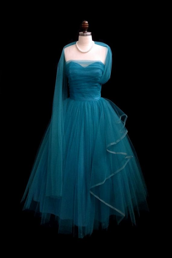 Vintage 1950 S 50 Aqua Tulle Strapless Ruched Tail Party Dress
