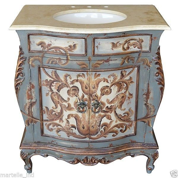 Antique Bathroom Vanity Cabinet Top Sink Stone Light Blue French Scroll  Finish - Antique Bathroom Vanity Cabinet Top Sink Stone Light Blue French