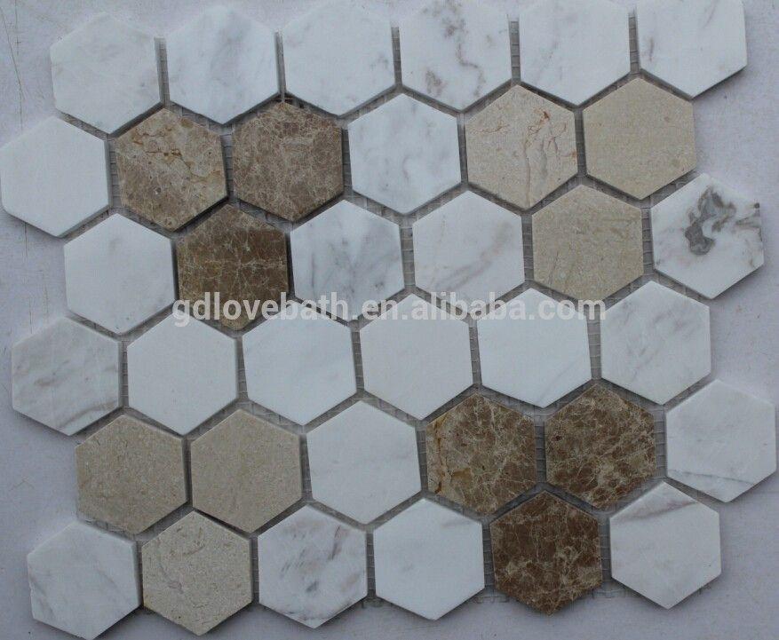 Hexagon Marble Mosaic Shower Floor Tile