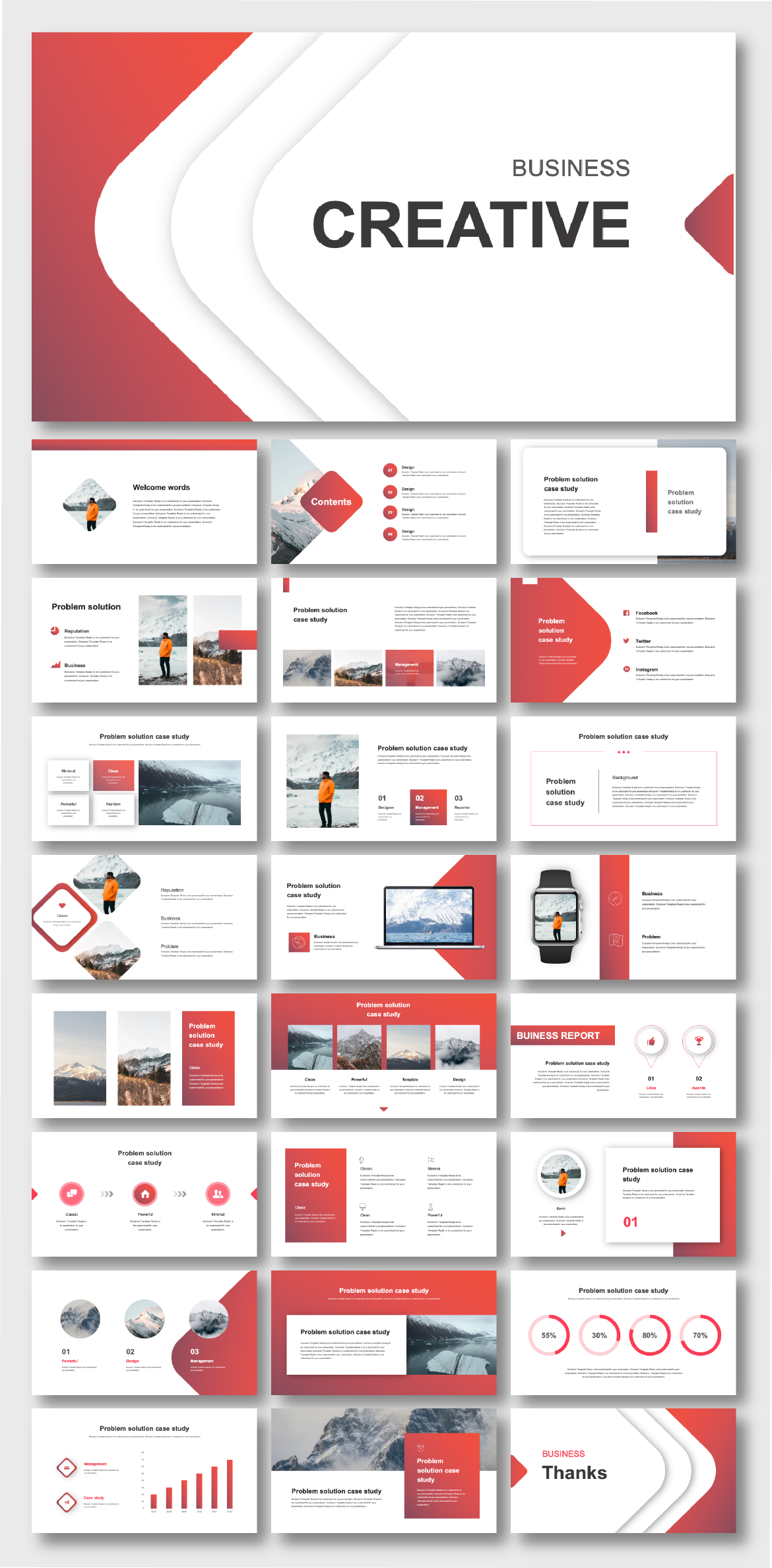 Beautiful Red Business Creative Presentation Template – Original and high quality PowerPoint Templates download