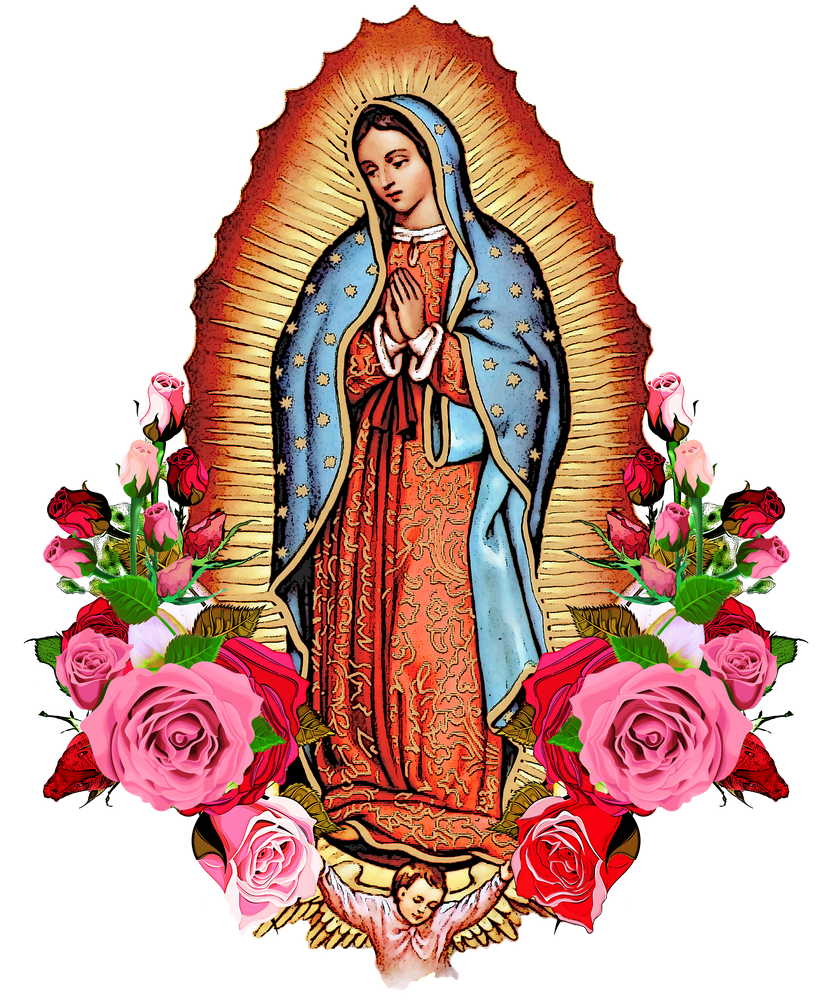 Our Lady Of Guadalupe With Roses Framed Art Print by