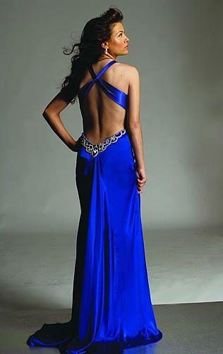 Vestidos de graduacion largos espalda descubierta azules