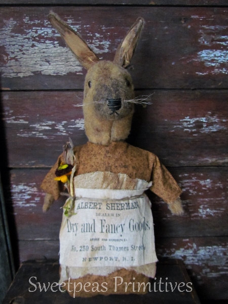 Primitive Early Vintage Style Easter Folk Art Bunny Rabbit Doll with Reproduction Label ~ Sweetpeas Primitives