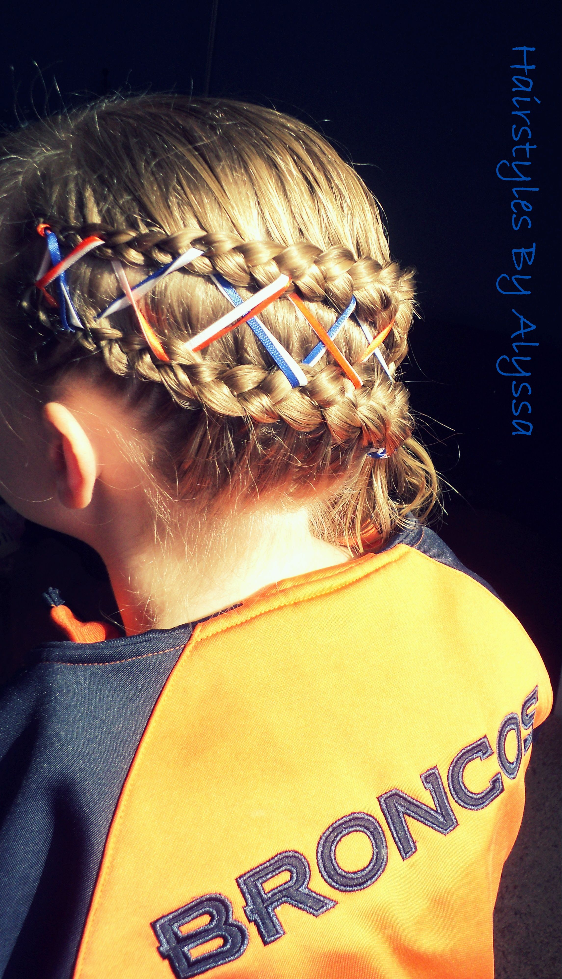 Double Dutch Braid With Ribbons Go Broncos Hair Styles Double Dutch Braid Hair Tutorial