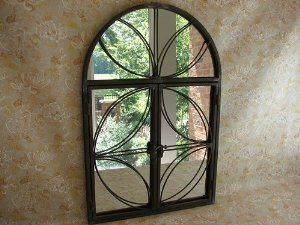 Amazon.com: Shabby Cottage Chic Metal Mirror with Opening Doors: Home & Kitchen