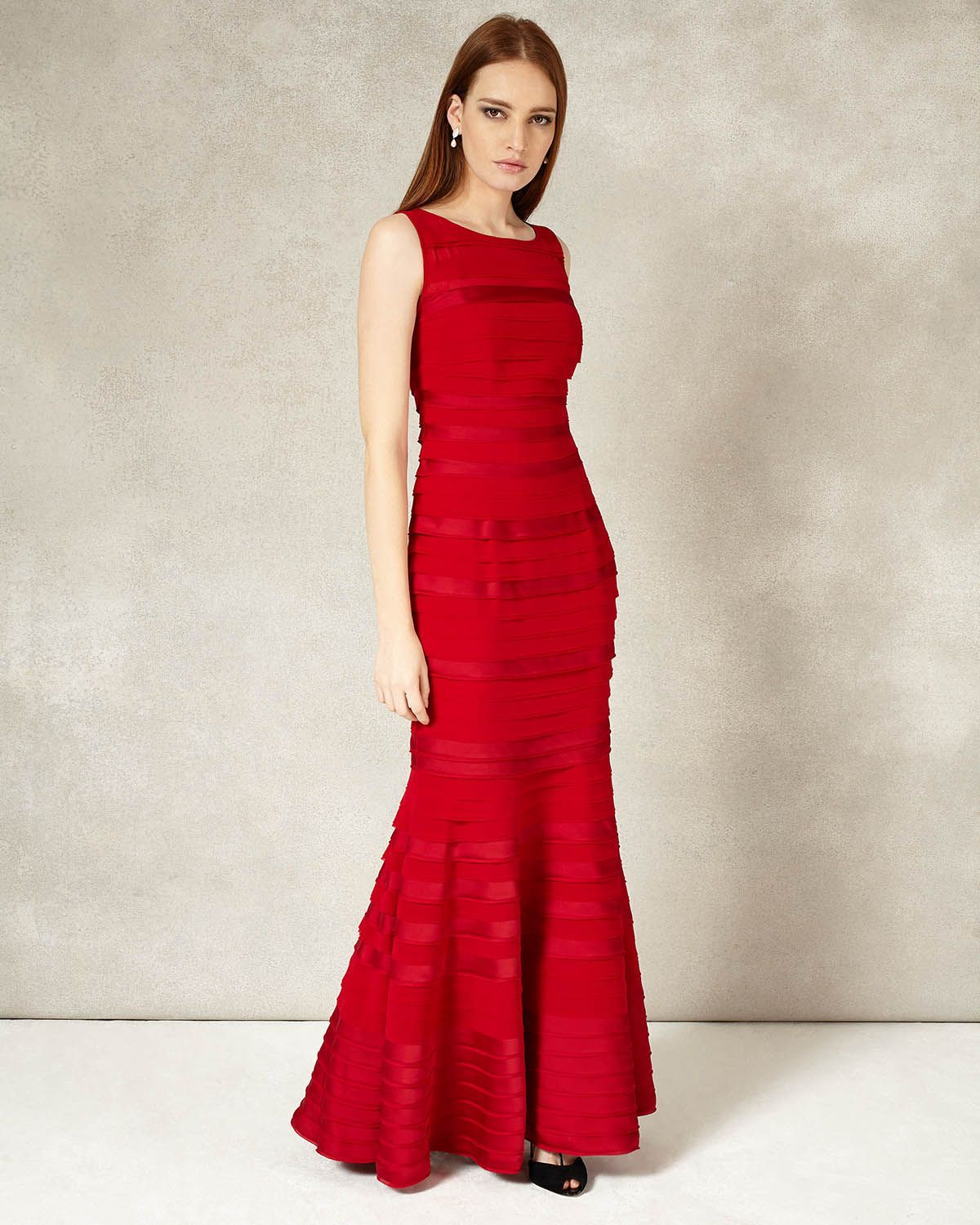 Shannon layered full length dress in rouge red by phase eight