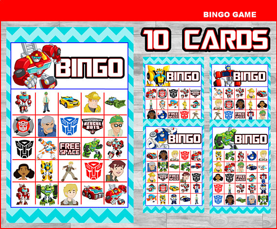 Printable Rescue Bots Bingo 10 Cards Game Instant Download