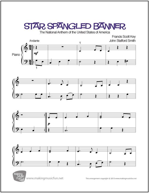 Star Spangled Banner Easy Piano Sheet Music Digital Print