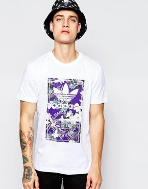 Mens Neon Floral Sleeve and Body Print T-Shirt With Contrast Chest Logo