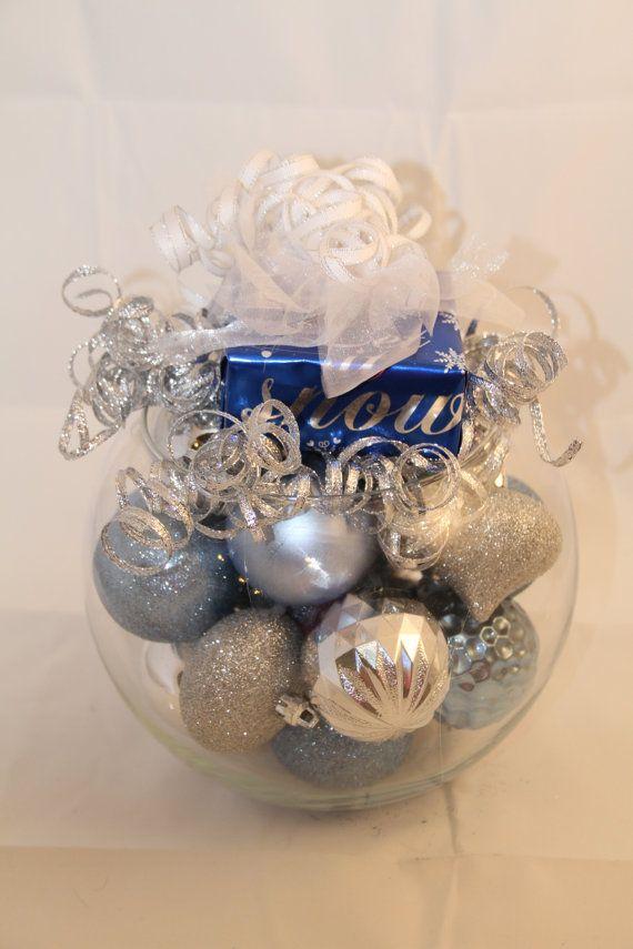 Centro de mesa de Navidad decoración de fiesta azul y plata ...