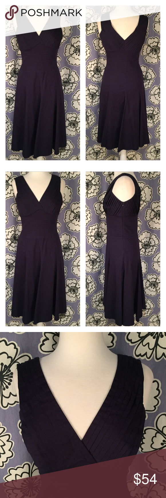 88ae0b5090eee Odille Anthropologie Navy Blue Dress Size 4 Brand: Odille; Anthropologie  Size: 4 Description: V neck fit and flare; tight bodice pleating; midi  length; ...