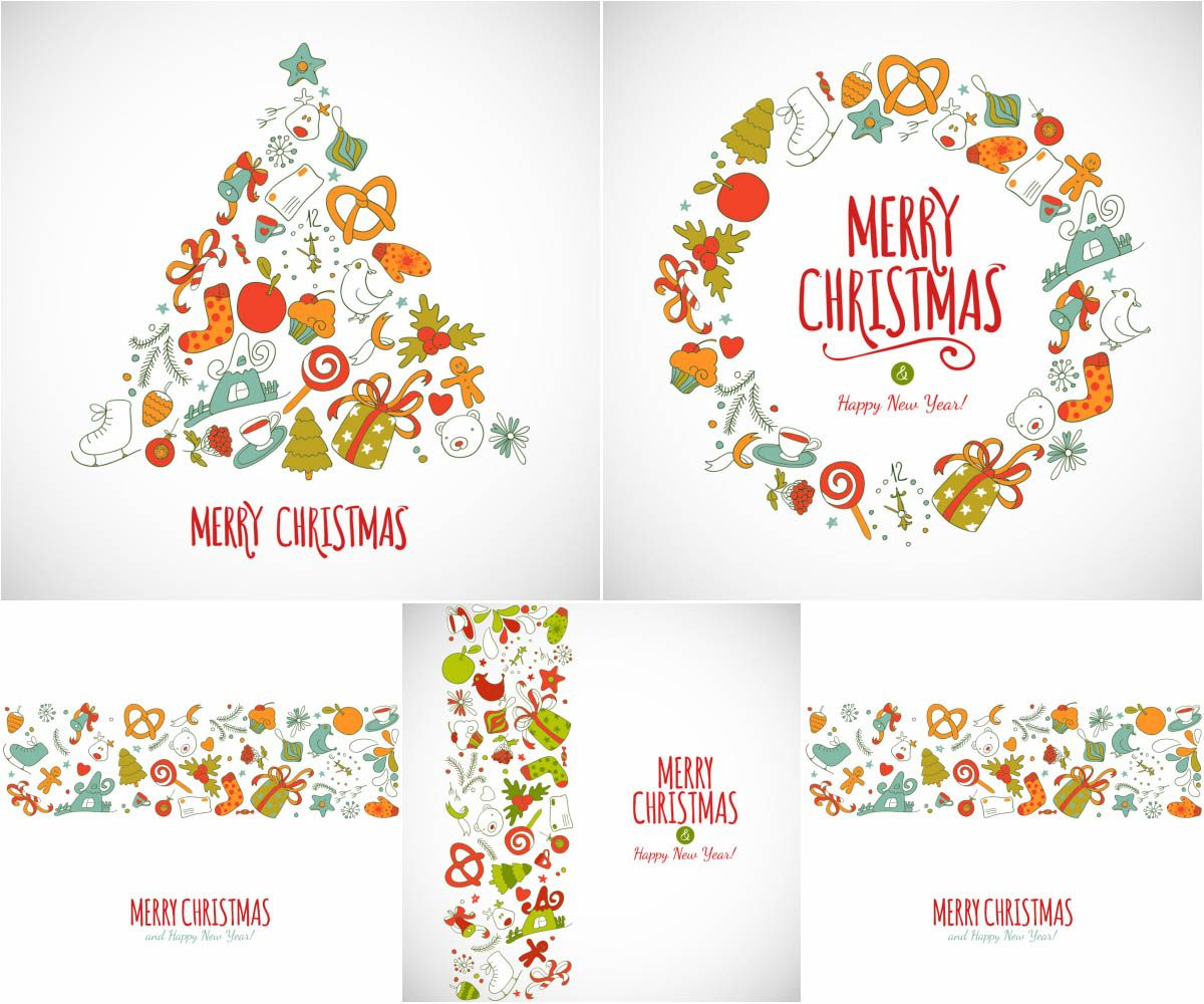 Christmas Backgrounds With Trees Caramel Boots Socks And Other Attributes Abstract Shape Of A Wreath Postcards