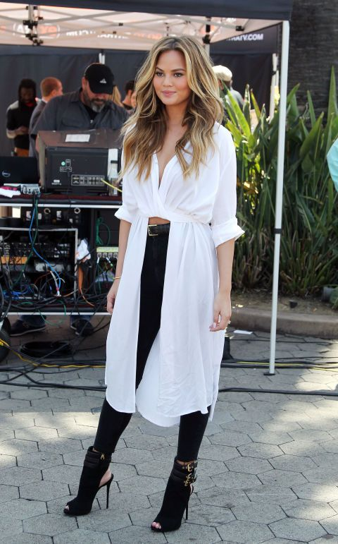 Chrissy Teigen s H M shirt-dress. See 6 other celebrities whose spring  style killed it. c2b0c0be02ba