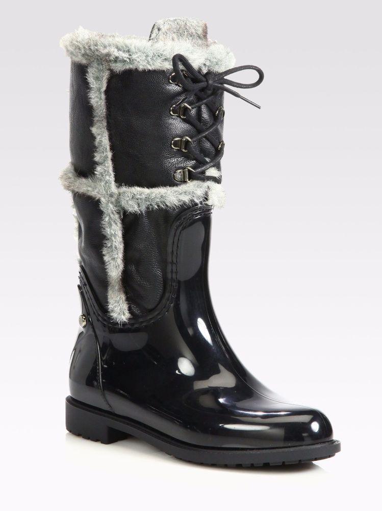 Stuart Weitzman Rebooting Women Black Rain Boots New Size US 6 EU 37 #Frye #Rainboots