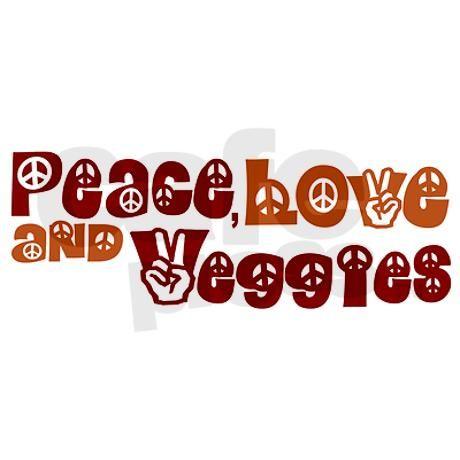 Peace, Love and Veggies Rectangle Decal on CafePress.com