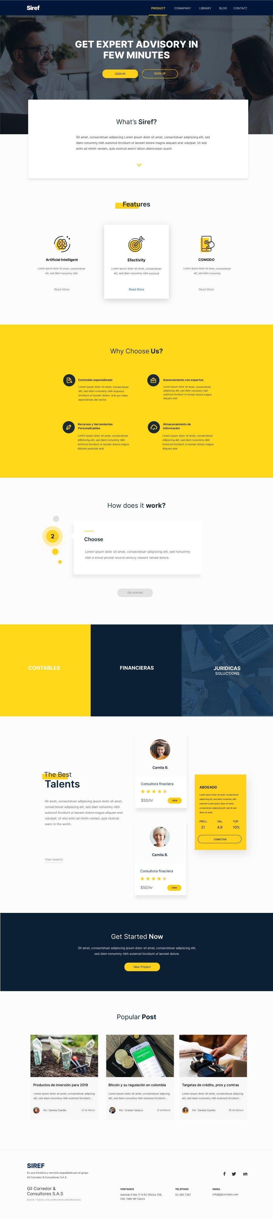 Web Design Project For The Startup Siref A Web Platform To Find Mainly Specialized Information And Profe Web Design Projects Web Design Web Design Inspiration