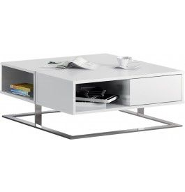 Table Basse Design Carree Laque Blanc 2 Tiroirs Pieds Inox Table Basse Design Table Basse Laque Blanche