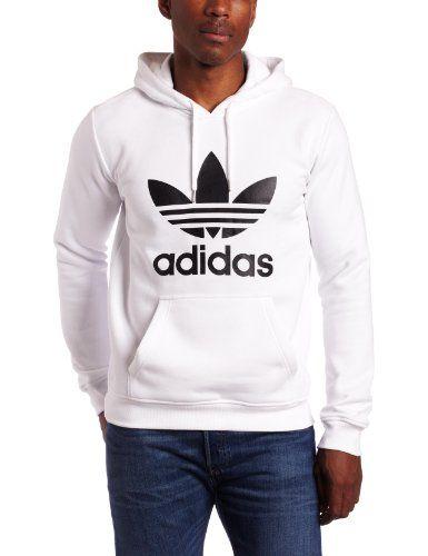 adidas Cotton Trefoil Hoodie in WhiteBlack (White) for Men