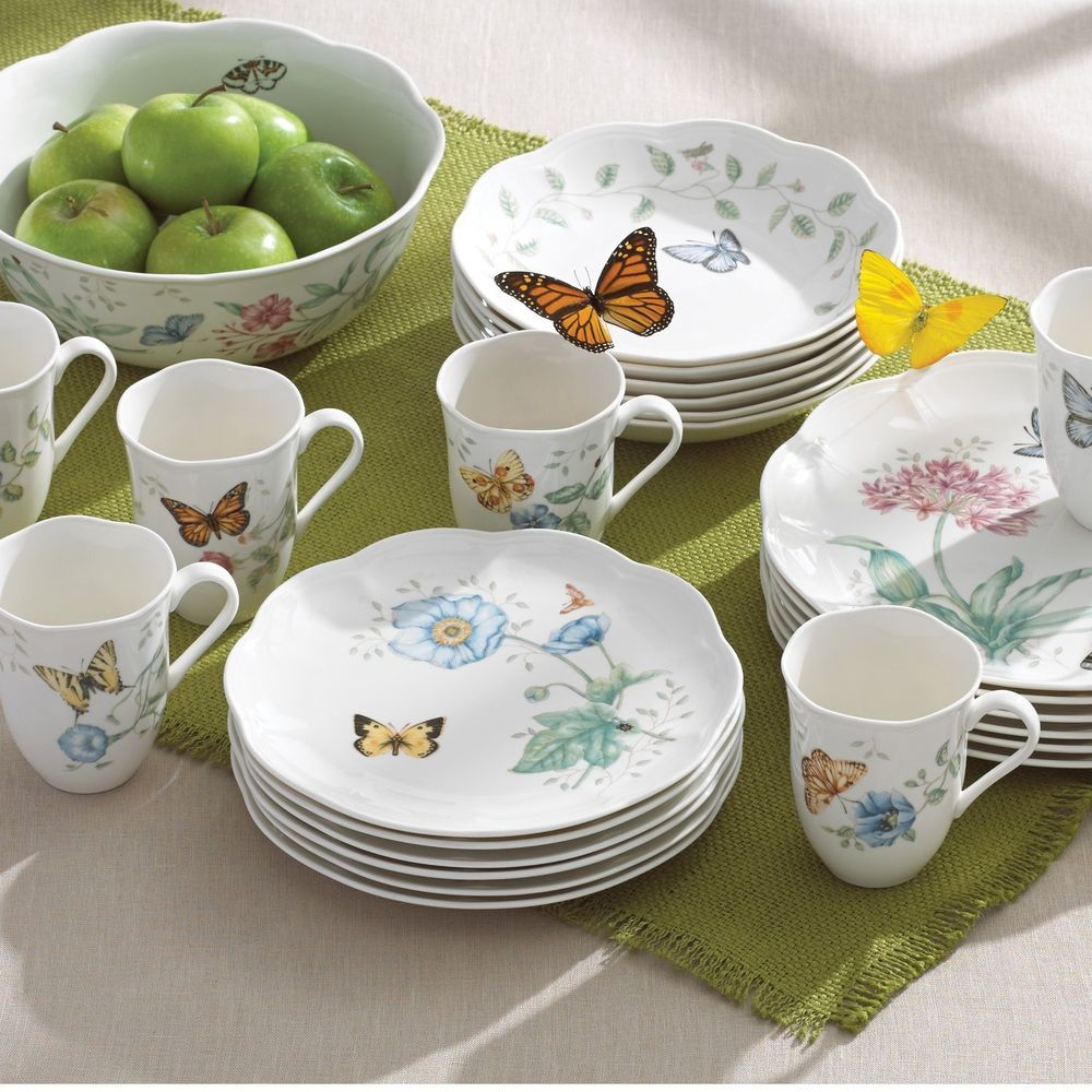 Dinnerware Set Service 6 Dinner Plates Serving Bowls Lenox Butterfly Meadow 18P : dinnerware service for 6 - pezcame.com