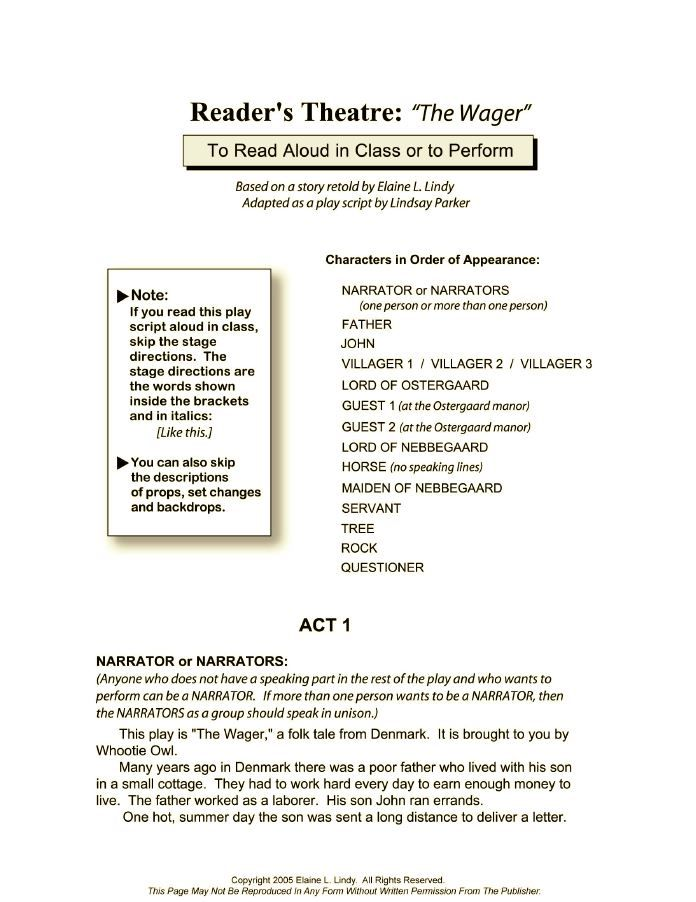 COMPLETE READER'S THEATRE PLAY SCRIPT -