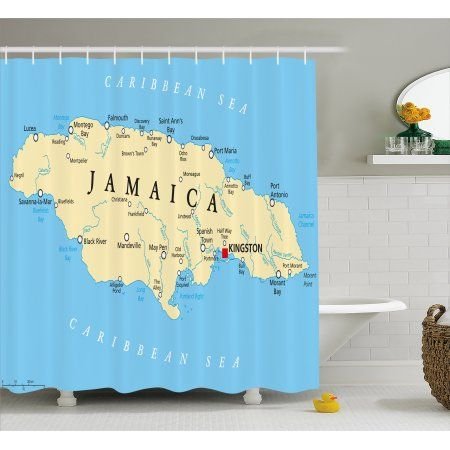 Jamaican Shower Curtain Map Of Jamaica Kingston Caribbean Sea Important Locations In Country Fabric