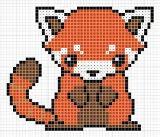 Perler Beads Pattern Kawaii Red Panda Google Search Cross Stitch Animals Cross Stitch Cross Stitching