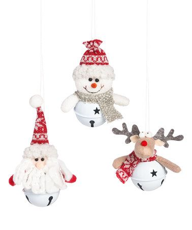 Another great find on #zulily! Santa, Snowman, & Moose Bell Ornament Set #zulilyfinds