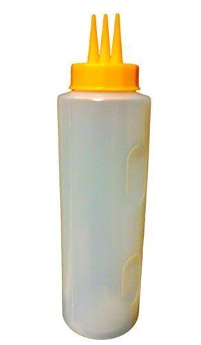 12oz Red Yellow Clear Squeeze Condiment Bottle Restaurant Dispenser Picnic Sauce