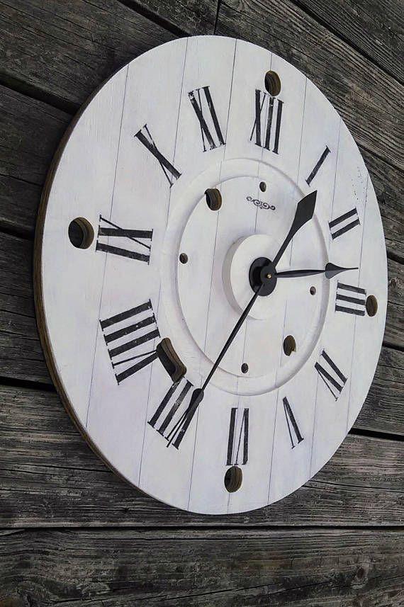 d6996b66408 Large Black   White Farmhouse Reclaimed Wood Spool Clock
