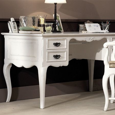 Bring Stylish Appeal To Your Office Or Study With This Elegant Writing Desk Showcasing A Scalloped Apron And Ant Home Goods Decor Furniture Antique White Desk