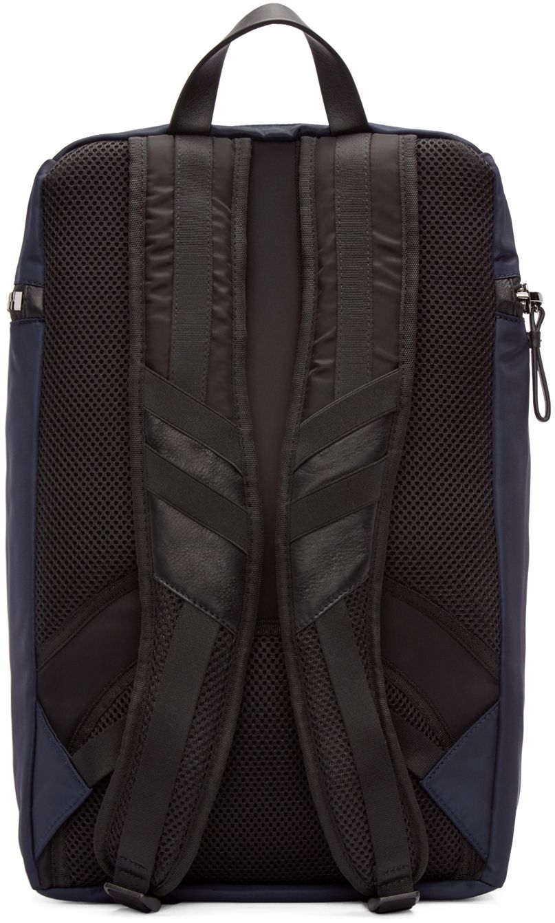 Moncler: Navy Nylon Zip Backpack | SSENSE
