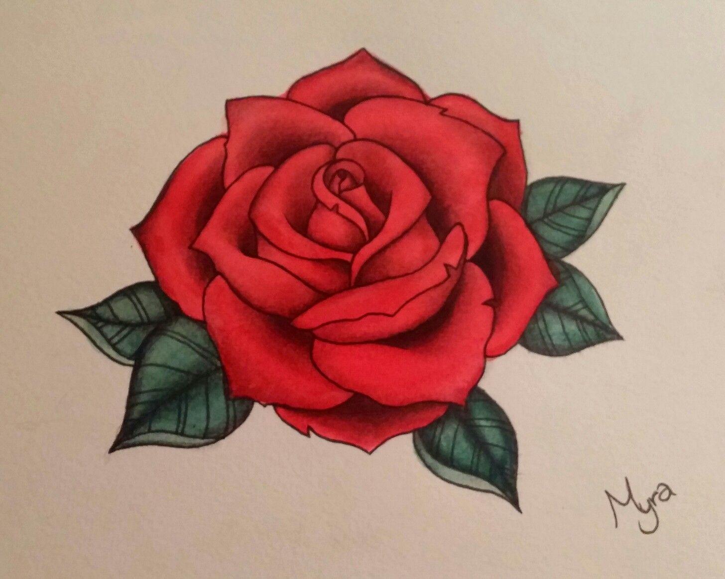Rosedrawingarttattooflashcoloredpencil my drawings pinterest
