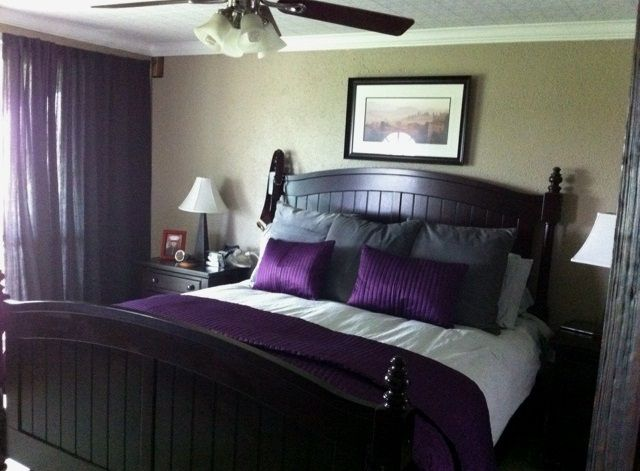 Gray Walls With Purple Accents Bedroom Purple Accents In