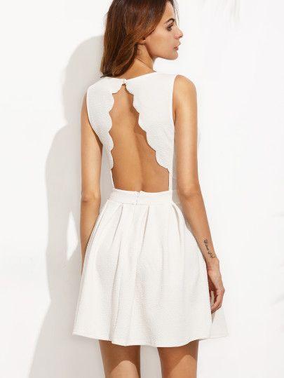 White Scalloped Cut Out A line Dress