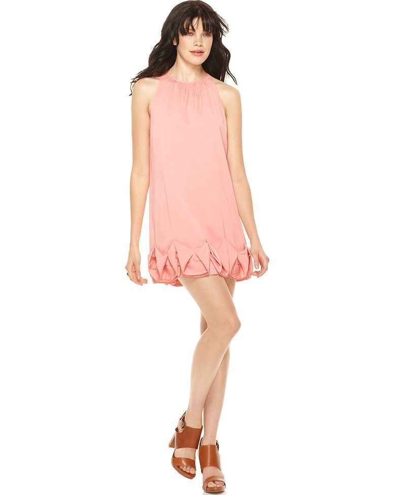Kensie dress sleeveless high neck ruffled a line with