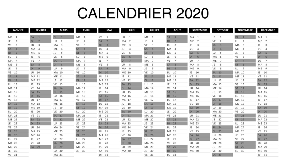 Calendrier annuel 2020 Word Exceller PDF in