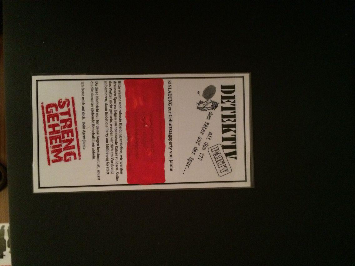 Einladung zur Detektiv-Geburtstags-Party. Rubbelbereich mit Acryl ... - Detektiv Geburtstag Einladungskarte