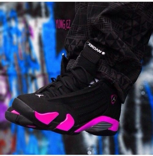 buy popular f2b5b 149bb Black/Pink Jordan 14s | ⓢⓗⓞⓔⓢ | Sneaker boots, Shoe ...
